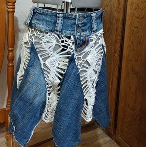 Skirt or strapless dress Denim with white crochet